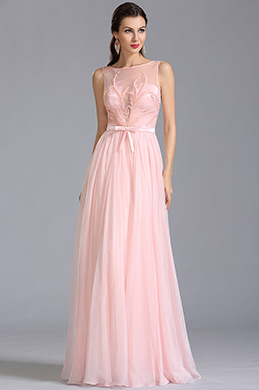 Ärmellos Gestickte Rosa Abendkleid Formal Kleid  (00154601)