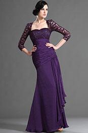 Elegant Purple Sleeves Mother of the Bride Dress (H26124906)