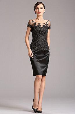 Bateau Neck Black Mother of the Bride Dress (X26150200)