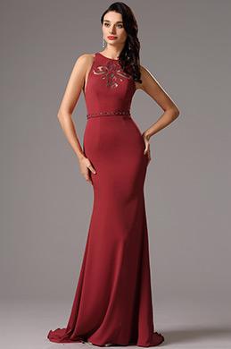Robe de soirée longue dos nu rouge bordeaux broderie ajouré (00160917)