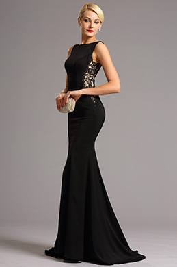 Sleeveless Side Lace Illusion Black Evening Dress Formal Gown (00161400)