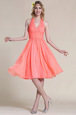 Halter Coral Bridesmaid Dress Cocktail Dress (07154857)