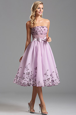 Robe de cocktail sans bretelle satin noeuds papillon (X04135138)