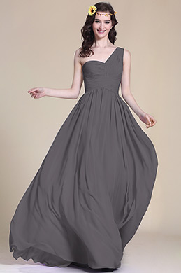 Pleated One Shoulder Grey Bridesmaid Dress (07151308)