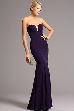 Vestido Formal Simple Morado Sin Tirante Vintage  (00161106)