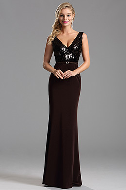 Black Sequin Bodice Plunging Neck Formal Evening Dress (X00161720)
