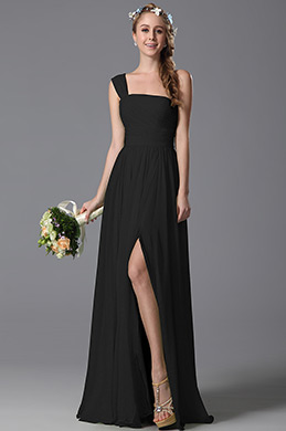 One Shoulder Slit Black Bridesmaid Dress Evening Dress (07156900)