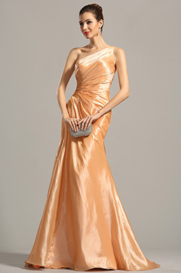 One Shoulder Pleated Orange Evening Dress Formal Dress (02154410)
