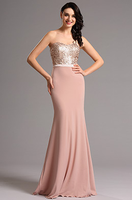 Strapless Sweetheart Pink Bridesmaid Dress Formal Dress (07160201)