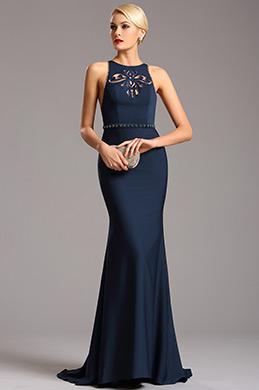 eDressit Ärmellos dunkel Blau Abendkleid mit Scherenschnitt (00160905)
