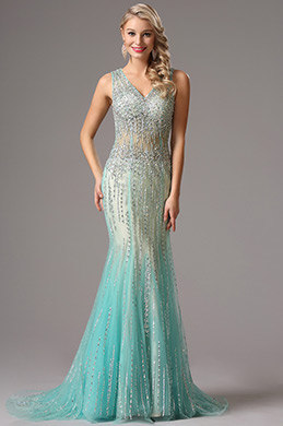 Sparkling Beaded Light Blue Prom Dress Evening Dress (36160405)