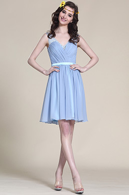Sleeveless Blue Cocktail Dress Bridesmaid Dress (07152405)
