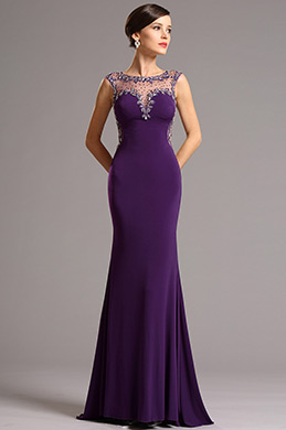 Elegant lila Formal Abendkleid mit Illusion kragen (36161006)