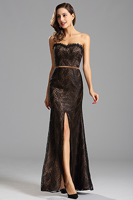 A Line High Slit Overlace Coffee Bridesmaid Dress Evening Gown (X07151220-1)