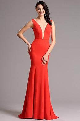 Elegant  Rot  V-Ausschnitt Formal Abendkleid  (00160802)