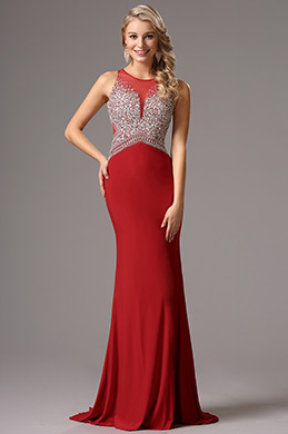 Sleeveless Beaded Bodice Red Prom Dress Formal Gown (36161102)