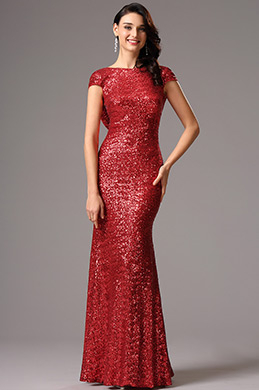 Stunning Cowl Back Sequin Red Formal Dress (07160302)