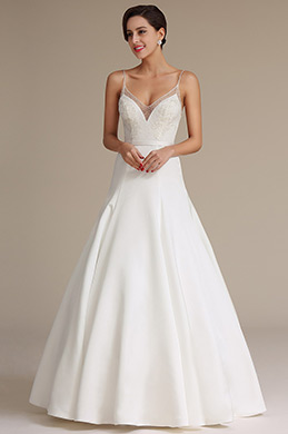 eDressit White Illusion Neckline Spaghetti Prom Wedding Dress (01161207)