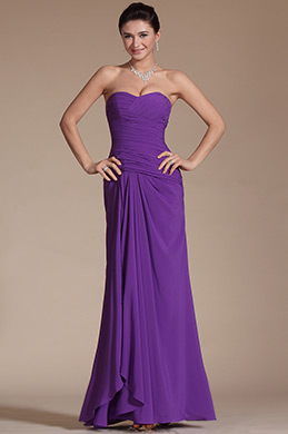 New Purple Strapless Pleated Evening Dress