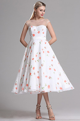 Illusion Neckline Floral Cocktail Party Dress (X01150147-1)