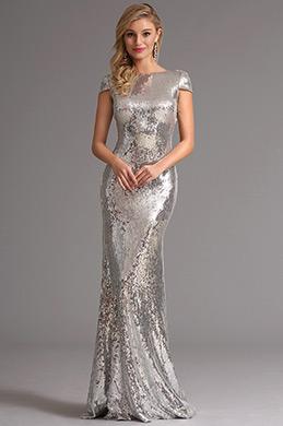 Erstaunlich Silber Pailletten Formal Kleid Abendkleid (X07160326)