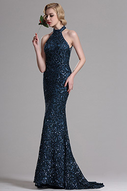 Navy Blue Sequin Halter Mermaid Prom Evening Dress (X00161305)
