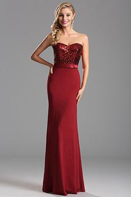 Trägerlos Süß Herz Rot Pailletten Abendkleid Formal Kleid (X07160217)