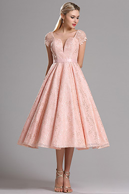 Short Sleeves Illusion V Neck Tea Pink Party Dress (X04145201)