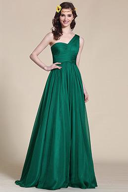 Ein Schulter Dunkel Grün Empire Taille Abendkleid (07151304)