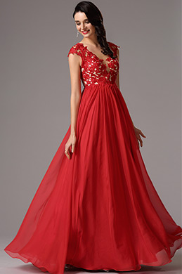 A Linie Empire Taille Rot Formel Kleid (02160902)