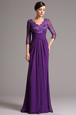 Purple Lace Top Long Sleeves Mother of the Bride Dress (26160706)