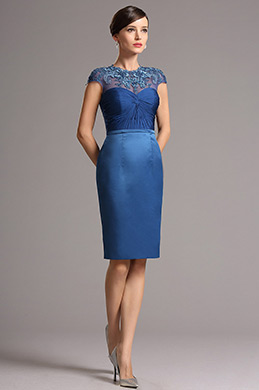 eDressit Lace Applique Cap Sleeves Blue Cocktail Dress (26162105)