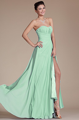 Strapless Sweetheart Slit Mint Bridesmaid Dress Formal Dress (07156004)