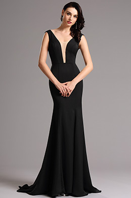 Sleeveless Illusion V Neck Black Formal Dress Formal Gown (00160800)
