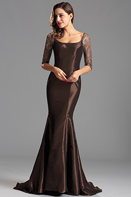 Stunning Grey Half Sleeves Evening Dress Formal Gown (X26151620-1)