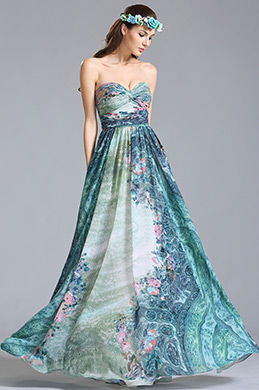 Strapless Sweetheart Printed Dress Floral Dress (07154468)