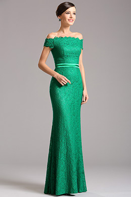 Elegant Off Shoulder Green Overlace Formal Dress (07153204)