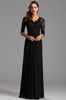 eDresssit Black V Neck Half Sleeves Mother of the Bride Dress (26160700)