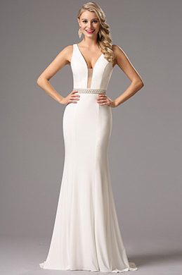 Sexy Plunging Neckline White Prom Dress Formal Gown (36160607)