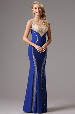 Ärmellos Royal Blau Formal Kleid  Abendkleid  (36161905)