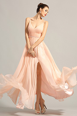 Elegant Sleeveless V Cut Peach Evening Dress Prom Dress (00153901)