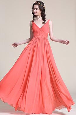 Ärmellos V Ausschnitt Korallle Brautjungfer Kleid Abendkleid (07151657