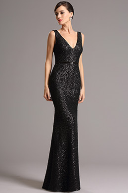 Stunning Black Sequin Formal Gown with Plunging Back (00161700)