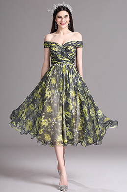 eDressit Yellow Print Off Shoulder Tea Length Cocktail Party Dress (X04152103)
