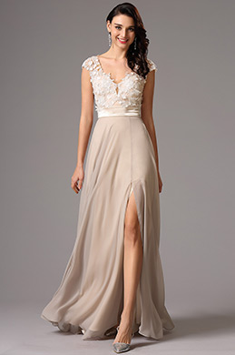 Capped Sleeves Lace Applique Evening Dress Prom Dress (00162414)