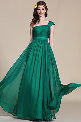 Robe demoiselle d'honneur longue verte asymétrique (07152504)