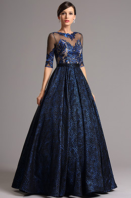 Vintage Half Sleeves Embroidered Bodice Blue Ball Gown (02161305)