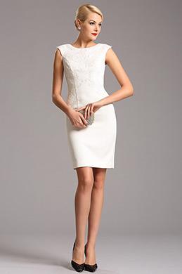 Белое Коктейльное Платье с Шапочными Рукавами (03160207)