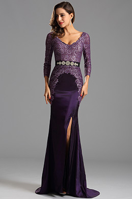 Long Sleeves Plunging Neckline Slit Purple Formal Dress (X26152506)