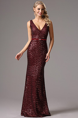 Sleeveless Plunging Neck Burgundy Sequin Formal Dress (00161717)
